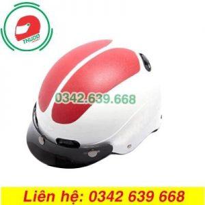 Mũ Bảo Hiểm Mỏ Rời Màu Đỏ Trắng In logo theo yêu cầu