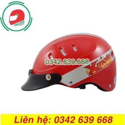 Mũ Bảo Hiểm Mỏ Rời Màu Đỏ 6 lỗ In logo theo yêu cầu