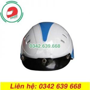Mũ Bảo Hiểm Mỏ Rời Màu Trắng Xanh 6 lỗ In logo theo yêu cầu