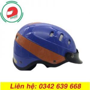 Mũ Bảo Hiểm Mỏ Rời Màu Xanh Cam 6 lỗ In logo theo yêu cầu