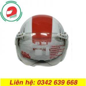 Mũ Bảo Hiểm Có Kính Sọc Đỏ Trắng cao cấp