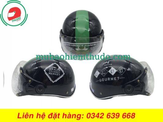 Mũ bảo hiểm in logo thương hiệu GOURMET đẹp