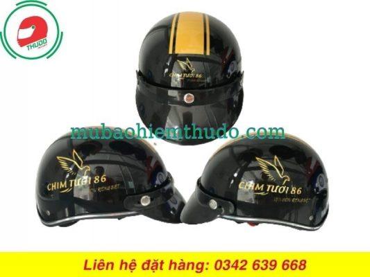 Mũ bảo hiểm quảng cáo thương hiệu Chim Tươi 86
